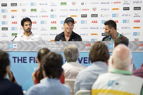 Lucas Di Grassi (BRA), Audi Sport ABT Schaeffler, Andre Lotterer (DEU), DS TECHEETAH and Mitch Evans (NZL), Panasonic Jaguar Racing in the press conference