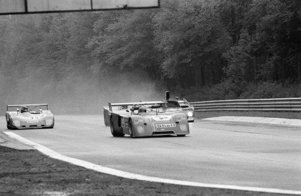 "Laurent Ferrier / ""Gimax"", Michel Dupont, Chevron B23 Ford leads Jacky Ickx / Rolf Stommelen, Autodelta SpA, Alfa Romeo T33/TT/12 and Hervé LeGuellec / Roger Heavens, Escuderia Montjuich, Lola T294 Ford."