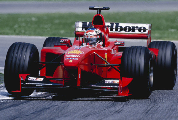 1999 San Marino Grand Prix. Imola, Italy.  30/4-2/5 1999. Michael Schumacher (Ferrari F399) 1st position. Ref-99 SM 98. World Copyright - Charles Coates/LAT Photographic