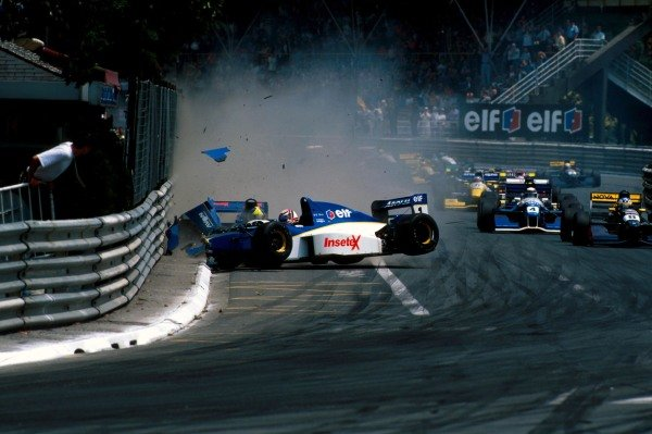 Guillaume Gomez (FRA) (front) and his DAMS team mate, pole sitter, Tarso Marques (BRA) Reynard 95D Cosworth  collide and crash into the barriers at the start of the race.   International F3000 Championship, Pau, France, 5 June 1995.