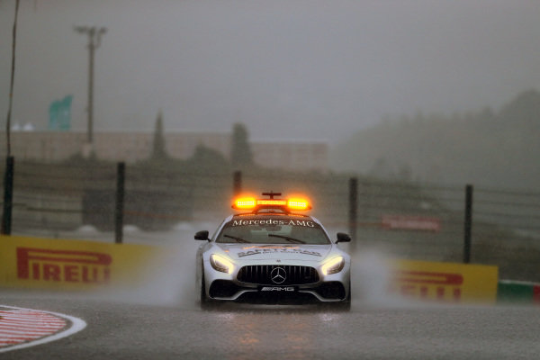 Safety car in the rain at Formula One World Championship, Rd16, Japanese Grand Prix, Practice, Suzuka, Japan, Friday 6 October 2017.