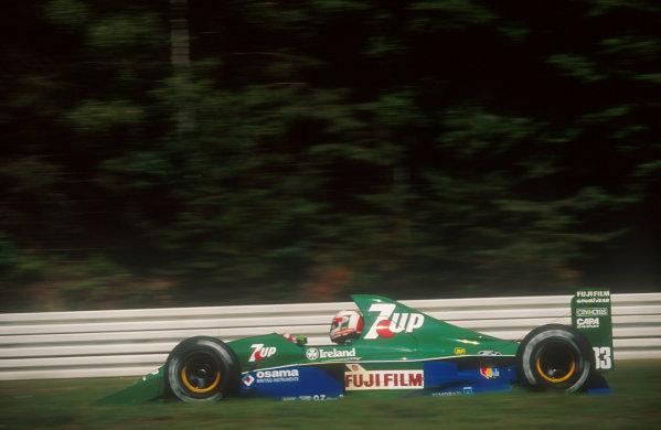 1991 German Grand Prix.Hockenheim, Germany.26-28 July 1991.Andrea de Cesaris (Jordan 191 Ford) 5th position.Ref-91 GER 07.World Copyright - LAT Photographic