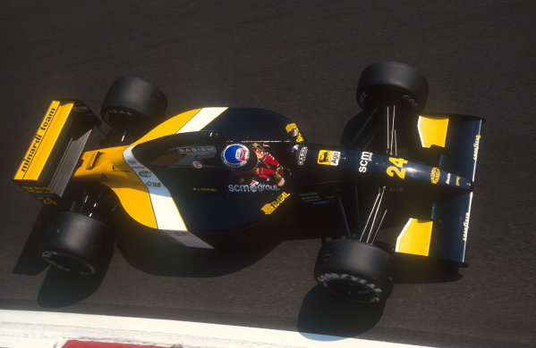 1991 Italian Grand Prix.Monza, Italy.6-8 September 1991.Gianni Morbidelli (Minardi M191 Ferrari) 9th position at Parabolica.Ref-91 ITA 18.World Copyright - LAT Photographic