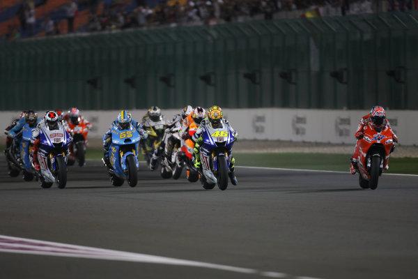 Qatar, Losail International Circuit.10th - 13th April 2009.Start of the MotoGP race and Casey Stoner Marlboro Ducati Team is off to one of his flying starts.World Copyright: Martin Heath/LAT Photographicref: Digital Image BPI_Moto 7o75