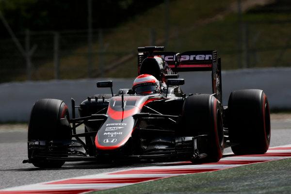 Circuit de Catalunya, Barcelona, Spain. Wednesday 13 May 2015. Jenson Button, McLaren MP4-30 Honda.  World Copyright: Alastair Staley/LAT Photographic. ref: Digital Image _79P5202