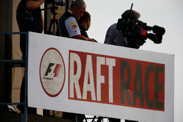 Circuit Gilles Villeneuve, Montreal, Canada. Saturday 10 June 2017. Sign for the F1 raft race. World Copyright: Andy Hone/LAT Images ref: Digital Image _ONZ4580