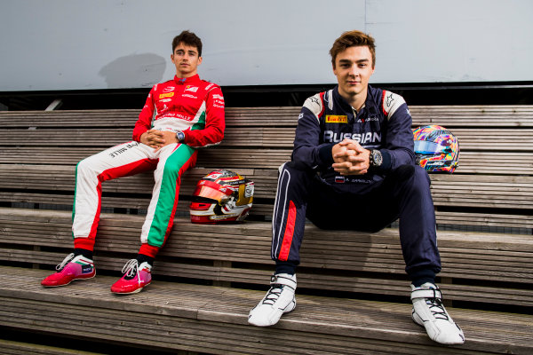 2017 FIA Formula 2 Round 6. Silverstone, Northamptonshire, UK. Thursday 13 July 2017. Charles Leclerc (MCO, PREMA Racing) and Artem Markelov (RUS, RUSSIAN TIME).  Photo: Zak Mauger/FIA Formula 2. ref: Digital Image _56I6257