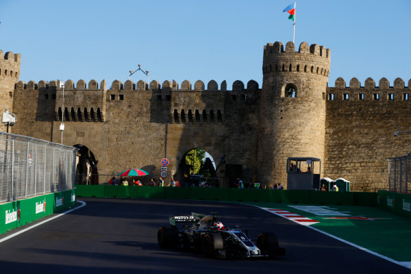 Baku City Circuit, Baku, Azerbaijan. Friday 23 June 2017. Romain Grosjean, Haas VF-17. World Copyright: Steven Tee/LAT Images ref: Digital Image _R3I2579