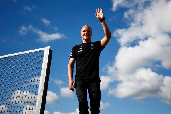 Hungaroring, Budapest, Hungary.  Thursday 27 July 2017. Valtteri Bottas, Mercedes AMG, waves to fans. World Copyright: Andy Hone/LAT Images  ref: Digital Image _ONY8950