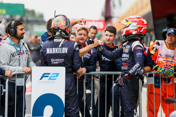 2017 FIA Formula 2 Round 6. Silverstone, Northamptonshire, UK. Sunday 16 July 2017. Luca Ghiotto (ITA, RUSSIAN TIME), Artem Markelov (RUS, RUSSIAN TIME).  Photo: JEP/FIA Formula 2. ref: Digital Image 1DXA9123