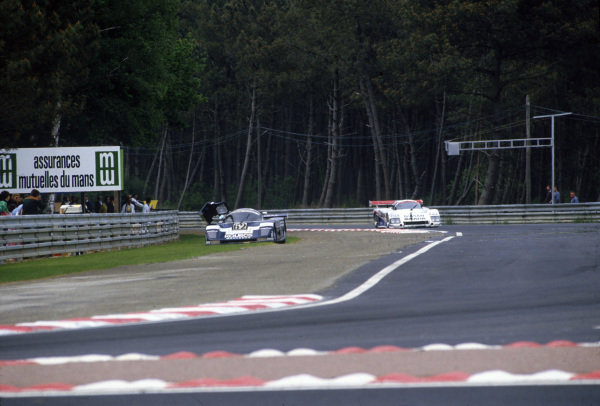1986 Le Mans 24 hours. Le Mans, France. 31st May - 1st June 1986. Henri Pescarolo / Christian Danner / Dieter Quester (Sauber C8 Mercedes), retired, action.  World Copyright: LAT Photographic.  Ref:  86LM89