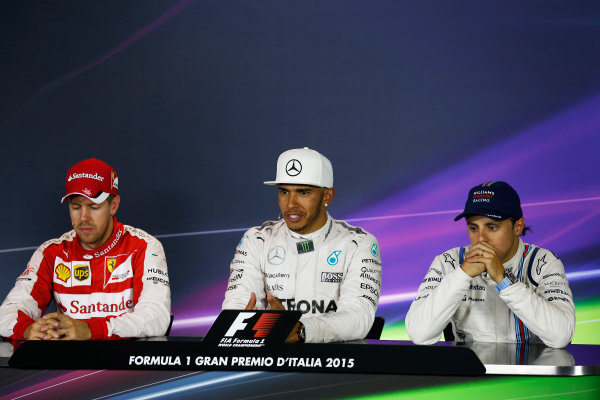 Autodromo Nazionale di Monza, Monza, Italy. Sunday 6 September 2015. Lewis Hamilton, Mercedes AMG, 1st Position, Sebastian Vettel, Ferrari, 2nd Position, and Felipe Massa, Williams F1, 3rd Position, in the Press Conference. World Copyright: Alastair Staley/LAT Photographic ref: Digital Image _R6T1701