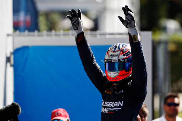 2015 GP2 Series Round 8. Autodromo Nazionale di Monza, Monza, Italy. Sunday 6 September 2015. Mitch Evans (NZL, RUSSIAN TIME) celebrates his win in parc ferme. World Copyright: Sam Bloxham/LAT Photographic. ref: Digital Image _G7C2183