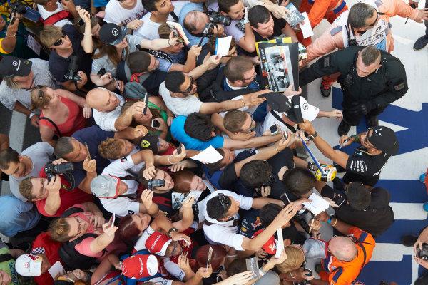 Autodromo Nazionale di Monza, Monza, Italy. Thursday 3 September 2015. Lewis Hamilton, Mercedes AMG, signs autographs for fans. World Copyright: Steve Etherington/LAT Photographic ref: Digital Image SNE23418