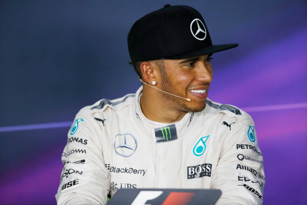 Hungaroring, Budapest, Hungary. Saturday 25 July 2015. Lewis Hamilton, Mercedes AMG, in the post qualifying Press Conference. World Copyright: Alastair Staley/LAT Photographic ref: Digital Image _79P8682