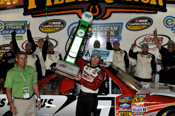 12-13 July, 2013, Newton, Iowa USA Timothy Peters celebrates in victory lane with trophy ©2013, Scott R LePage LAT Photo USA