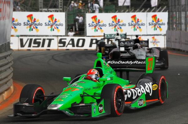 4-5 May, 2013, Sao Paulo, Brazil James Hinchcliffe leads James Jakes and Ed Carpenter ©2013, Phillip Abbott LAT Photo USA