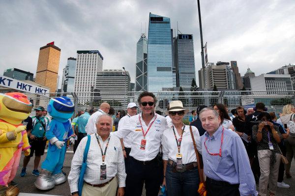 2016/2017 FIA Formula E Championship. Hong Kong ePrix, Hong Kong, China. Sunday 09 October 2016. Alejandro Agag and Jean Todt on the grid. Photo: Adam Warner/LAT/Formula E ref: Digital Image _L5R8024