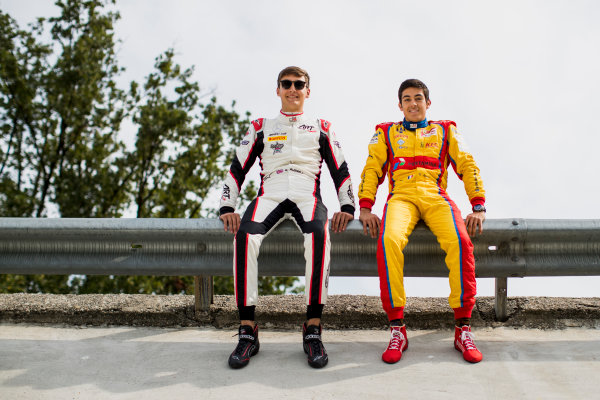 2017 GP3 Series Round 6.  Autodromo Nazionale di Monza, Monza, Italy. Thursday 31 August 2017. George Russell (GBR, ART Grand Prix), Giuliano Alesi (FRA, Trident).  Photo: Zak Mauger/GP3 Series Media Service. ref: Digital Image _54I4915
