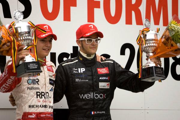 Jules Bianchi, ART Grand Prix celebrates on the podium with Richard Philippe, Carlin Motorsport after winning the Nations cup.Portrait.   World Copyright: Drew Gibson/LATref: Digital Image MQ9M3767