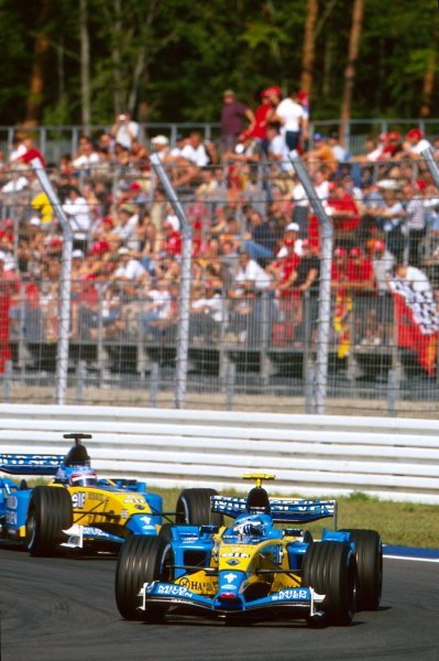 Third placed Jarno Trulli (ITA) Renault R23 ahead of fourth placed teammate Fernando Alonso (ESP).German Grand Prix, Hockenheim, Germany, 3 August 2003.BEST IMAGE