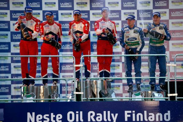 Round 08-Neste Rally Finland 1/8-4/8 2012.Sebastien Loeb, Daniel Elena, Citroen WRC, Podium.Worldwide Copyright: McKlein/LAT