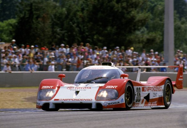 Le Mans, France. 19th - 20th June 1993.Eddie Irvine/Toshio Suzuki/Masanori Sekiya (Toyota TS010), 4th position, action. World Copyright: LAT PhotographicRef : 93LM22