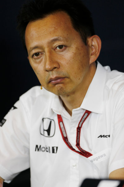 Red Bull Ring, Spielberg, Austria. Friday 01 July 2016. Yusuke Hasegawa, Senior Managing Officer, Honda, in the team principals Press Conference. World Copyright: Andy Hone/LAT Photographic ref: Digital Image _ONZ5107