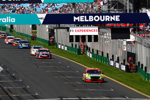 Australian Supercars Series Albert Park, Melbourne, Australia. Sunday 26 March 2017. Race 4. Chaz Mostert, No.55 Ford Falcon FG-X, Supercheap Auto Racing, leads Shane van Gisbergen, No.97 Holden Commodore VF, Red Bull Holden Racing Team.  World Copyright: Zak Mauger/LAT Images ref: Digital Image _94I9839