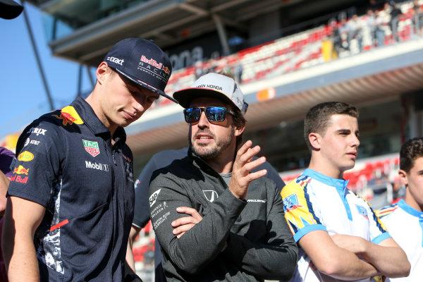 Circuit de Catalunya, Barcelona, Spain. Thursday 11 May 2017. Max Verstappen, Red Bull, and Fernando Alonso, McLaren. World Copyright: Dom Romney/LAT Images ref: Digital Image GT2R9804