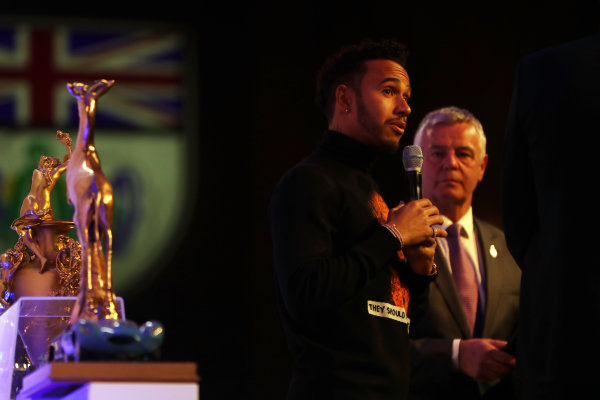 2017 British Racing Drivers Club Awards. London Hilton Hotel, Park Lane, London. Monday 4th December 2017. Lewis Hamilton and Derek Warwick. World Copyright: Jakob Ebrey / LAT Images. Ref: Hamilton-16
