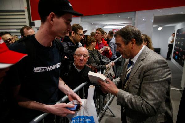 Autosport International Exhibition. National Exhibition Centre, Birmingham, UK. Sunday 14th January 2018. Nigel Mansell signs autographs for fans.World Copyright: Joe Portlock/LAT Images Ref: _L5R0557