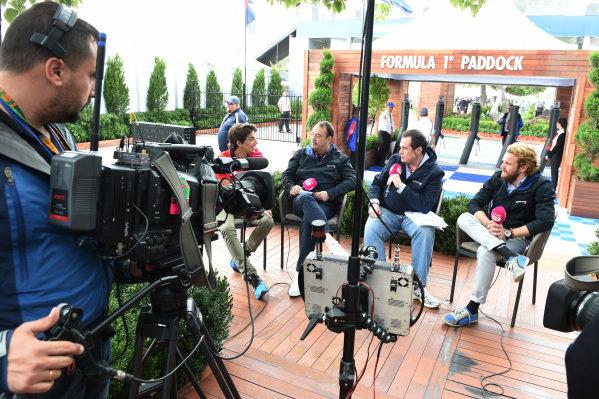 Movistar F1 TV talks with Roberto Merhi (ESP) Manor GP at Formula One World Championship, Rd1, Australian Grand Prix, Preparations, Albert Park, Melbourne, Australia, Thursday 12 March 2015.