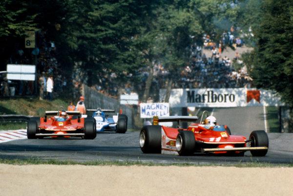 Monza, Italy. 9th September 1979.Jody Scheckter - Ferrari 312T4. 1st position. Here leading team mate Giles Villeneuve.World Copyright: LAT Photographic.ref: 35mm 79 ITA 07
