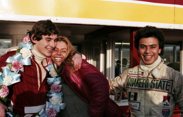 Ayrton Senna da Silva (BRA) with his wife Liliane celebrates his first single seater race victory. With them is team mate Alfonso Toledano (MEX). Townsend Thoresen Formula Ford 1600 Championship, Brands Hatch, England, 15 March 1981.