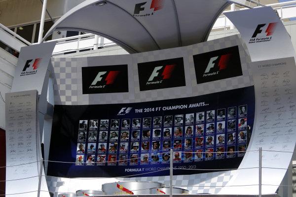 Podium. Formula One World Championship, Rd5, Spanish Grand Prix, Preparations, Barcelona, Spain, Thursday 8 May 2014.