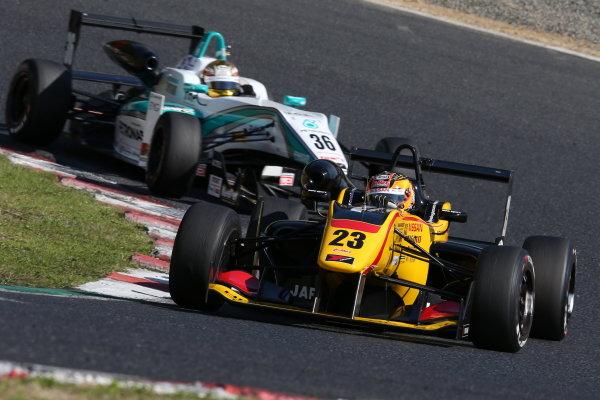 2015 Japanese Formula 3 Championship. Okayama, Japan. 27th - 28th June 2015. Rd 10 & 11. Winner Mitsunori Takaboshi ( #23 B-MAX NDDP F3 ) action World Copyright: Masahide Kamio / LAT Photographic. Ref:  2015JF3_Rd10&11_02