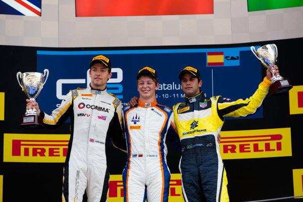 2014 GP2 Series Round 2 - Race 1. Circuit de Catalunya, Barcelona, Spain. Saturday 10 May 2014. Johnny Cecotto (VEN, Trident), 1st, Jolyon Palmer (GBR, DAMS), 2nd & Felipe Nasr (BRA, Carlin), 3rd Photo: Malcolm Griffiths/GP2 Series Media Service. ref: Digital Image A50A3183