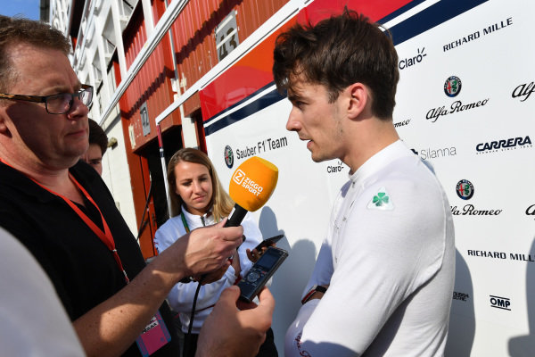 Charles Leclerc (MON) Alfa Romeo Sauber F1 Team talks with the media