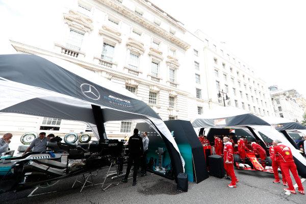 F1 Live London. London, United Kingdom. Wednesday 12 July 2017. The Mercedes AMG and Ferrari teams prepare for the London F1 street demonstration. World Copyright: Glenn Dunbar/LAT Images ref: Digital Image: _31I9120