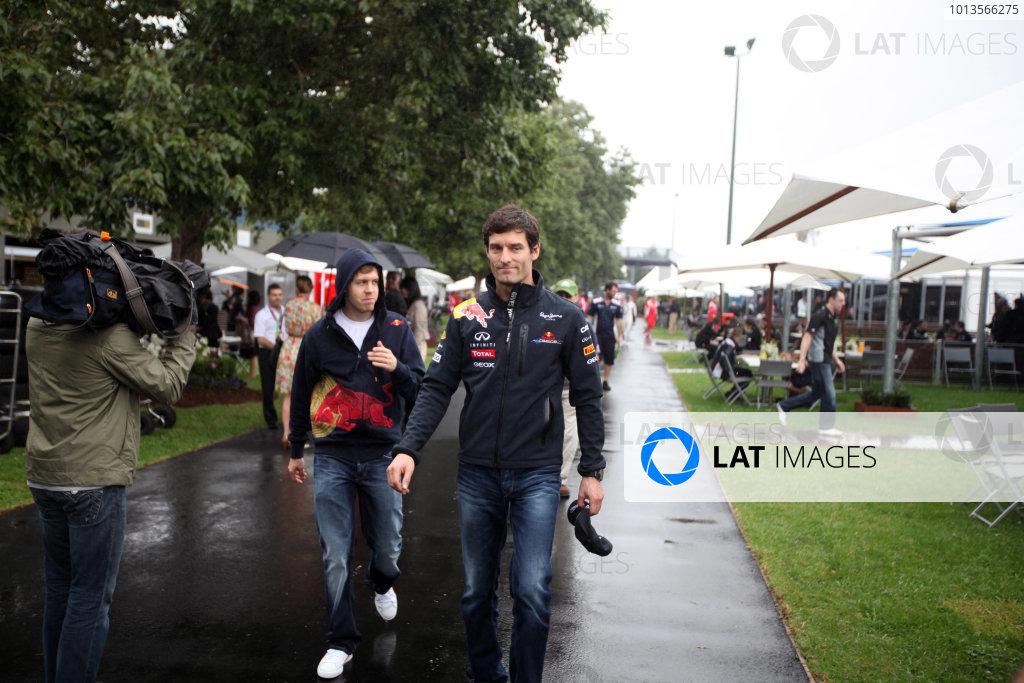Albert Park, Melbourne, Australia24th March 2011.Mark Webber, with team mate Sebastian Vettel, Red Bull Racing RB7 Renault. Portrait. World Copyright: Glenn Dunbar/LAT Photographicref: Digital Image IMG_3637