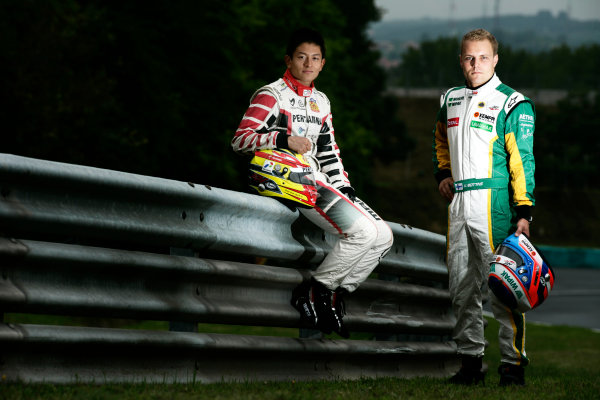 Round 6. Hungaroring, Budapest, Hungary, 28th July 2011.Thursday Preview. Rio Haryanto, (INA, Marussia Manor Racing) and Valtteri Bottas, (FIN, Lotus ART) winners of races 9 and 10 at round five at the Nurburgring, Germany. Portrait. Photo: Drew Gibson/GP3 Media Service. ref: Digital Image _Y2Z6648
