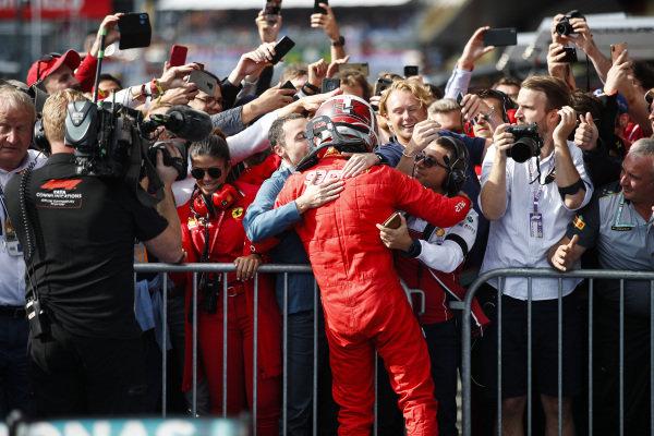 Charles Leclerc, Ferrari, 1st position, celebrates in Parc Ferme