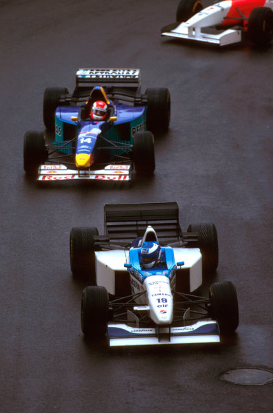 Monte Carlo, Monaco.16-19 May 1996.Mika Salo (Tyrrell 024 Yamaha) 5th position at Loews Hairpin with Johnny Herbert (Sauber C15 Ford) 3rd position behind.Ref-96 MON 10.World Copyright - LAT Photographic