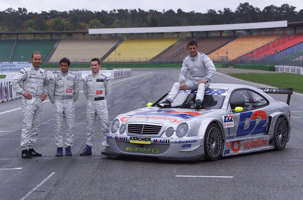2001 DTM TestingHockenheim, Germany. 7th November 2001.Jean Alesi testing the AMG Mercedes CLK-DTM at Hockenheim (with Uwe Alzen, Danny Watts, Giuliano Morro - from right to left).World Copyright: Wolfgang Wilhelm/LAT Photographicref: Digital Image Only