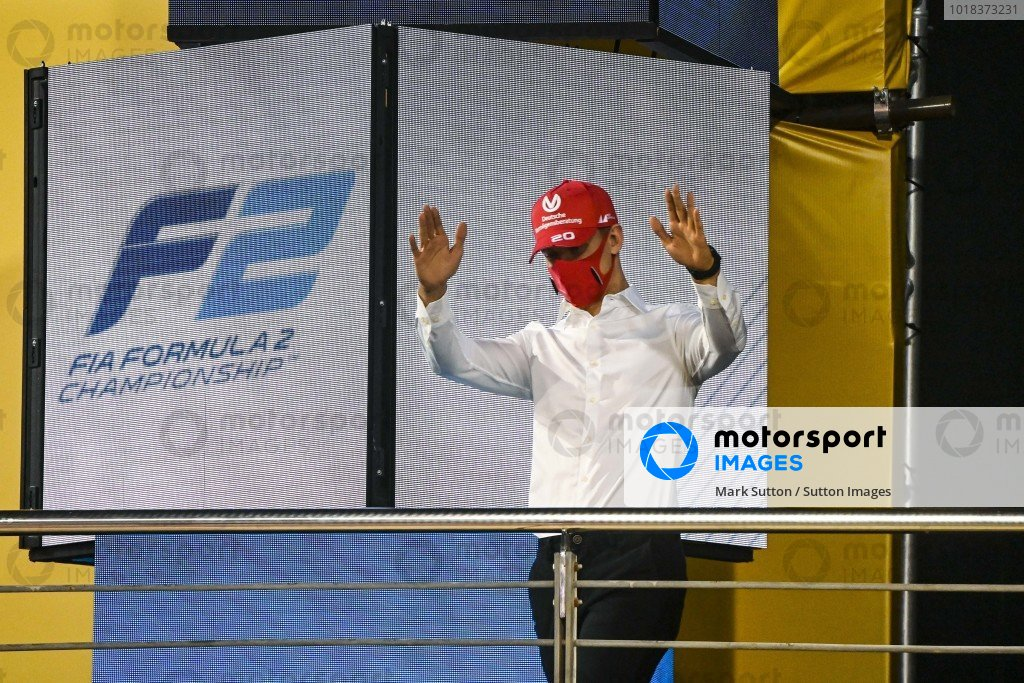 F2 Championship 1st position Mick Schumacher (DEU, PREMA RACING) celebrates on the podium