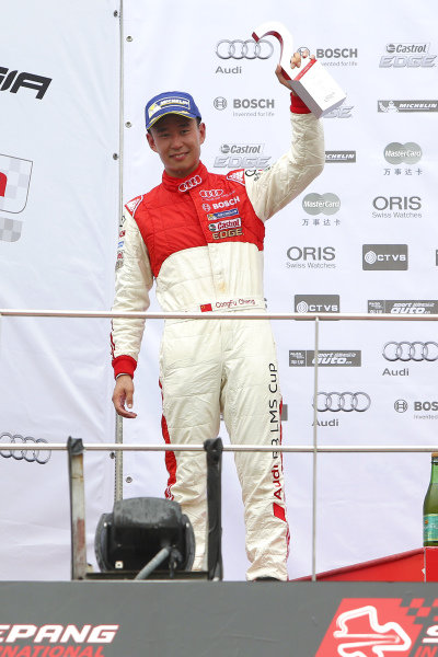 Franky Cheng (CHN) FAW-VW Audi Racing Team celebrates on the podium of race 2 at Audi R8 LMS Cup, Rd4, Sepang, Malaysia, 4-6 September 2015.