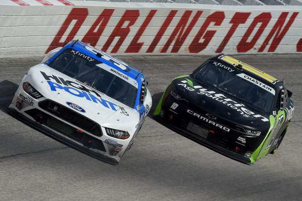 Chase Briscoe, Stewart-Haas Racing Ford, leads Ross Chastain, Kaulig Racing Chevrolet, Copyright: Jared C. Tilton/Getty Images.