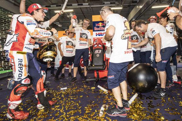 World Champion Marc Marquez, Repsol Honda Team celebrates with his team