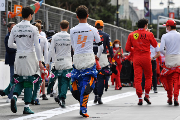 Lance Stroll, Aston Martin, Mick Schumacher, Haas F1, Sebastian Vettel, Aston Martin, Lando Norris, McLaren, Max Verstappen, Red Bull Racing, Carlos Sainz, Ferrari and Charles Leclerc, Ferrari